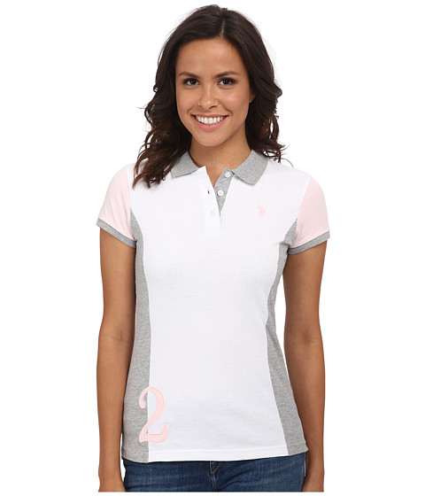 U.S. POLO ASSN. - Color Block Jersey Polo (Heather Grey) Women