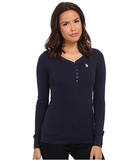 U.S. POLO ASSN. - Cotton Rib Henley (Navy Blazer) Women's Clothing