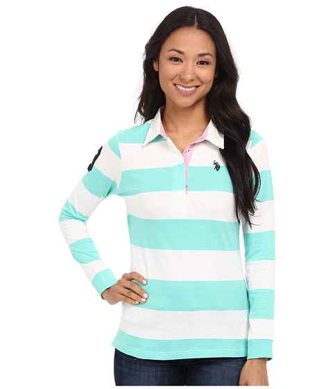 U.S. POLO ASSN. - Jersey Rugby Stripe Polo (Bermuda) Women's Clothing