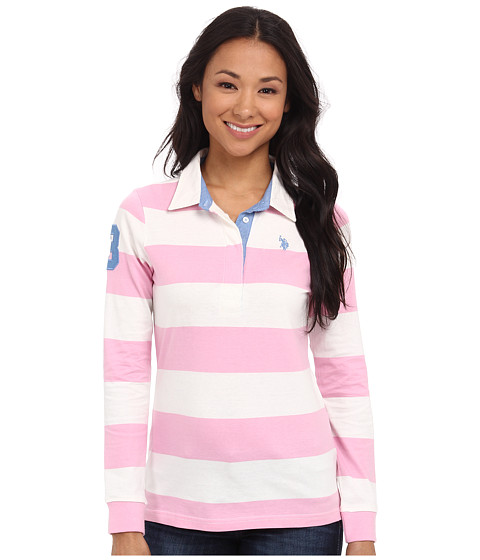 U.S. POLO ASSN. - Jersey Rugby Stripe Polo (Prism Pink) Women's Clothing