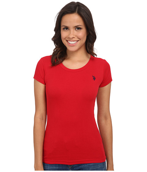 U.S. POLO ASSN. - Small Logo Ribbed Tee (Tomato Check) Women's Short Sleeve Pullover