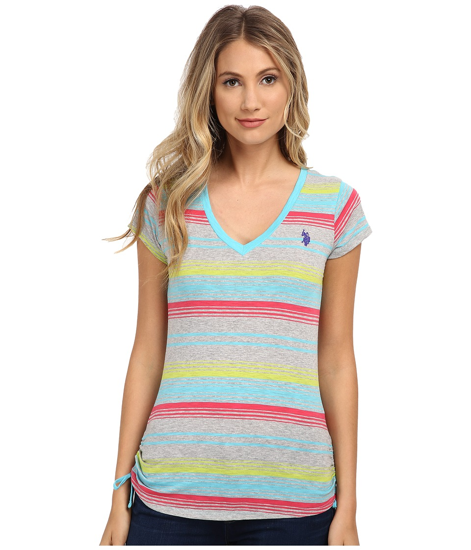 U.S. POLO ASSN. - Striped V-Neck T-Shirt with Ruching (Maui Blue) Women's T Shirt