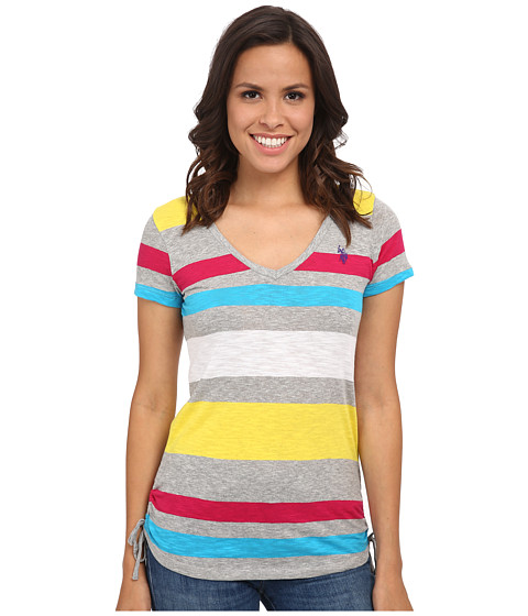 U.S. POLO ASSN. - Stripe V-Neck T-Shirt (Lemon Rock) Women's T Shirt