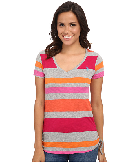 U.S. POLO ASSN. - Stripe V-Neck T-Shirt (Berry Success) Women
