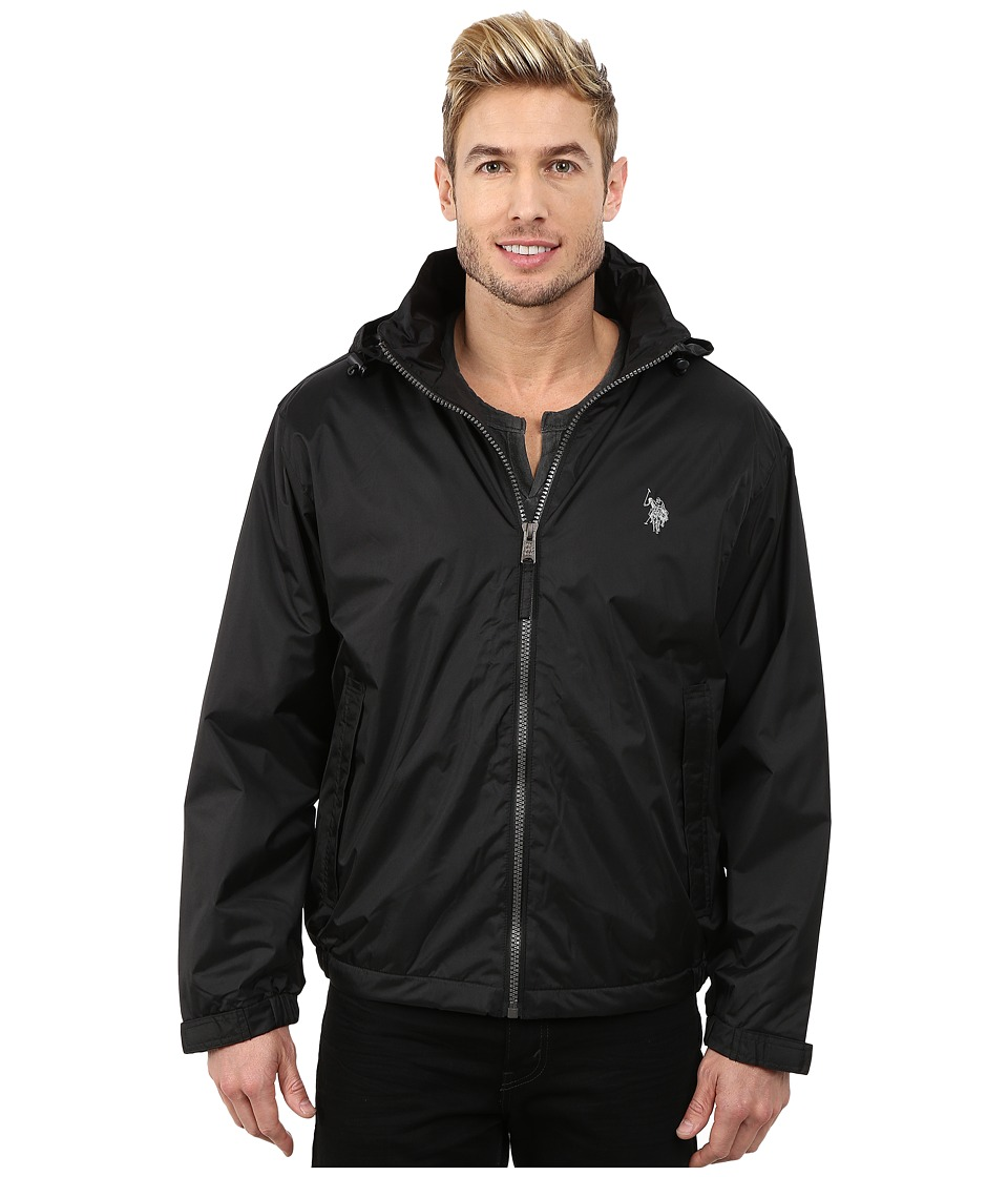 U.S. POLO ASSN. - Hidden Hood Windbreaker (Black) Men's Coat
