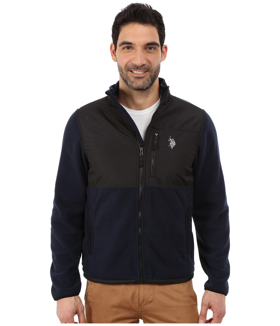 U.S. POLO ASSN. Polar Fleece Mock Neck Jacket (Classic Navy) Men