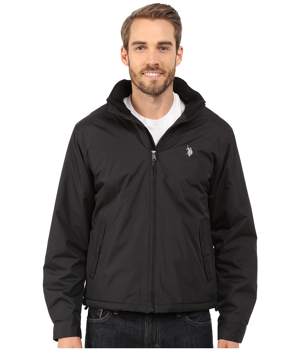 U.S. POLO ASSN. - Mock Neck Jacket Polar Fleece Lined (Black) Men's Coat