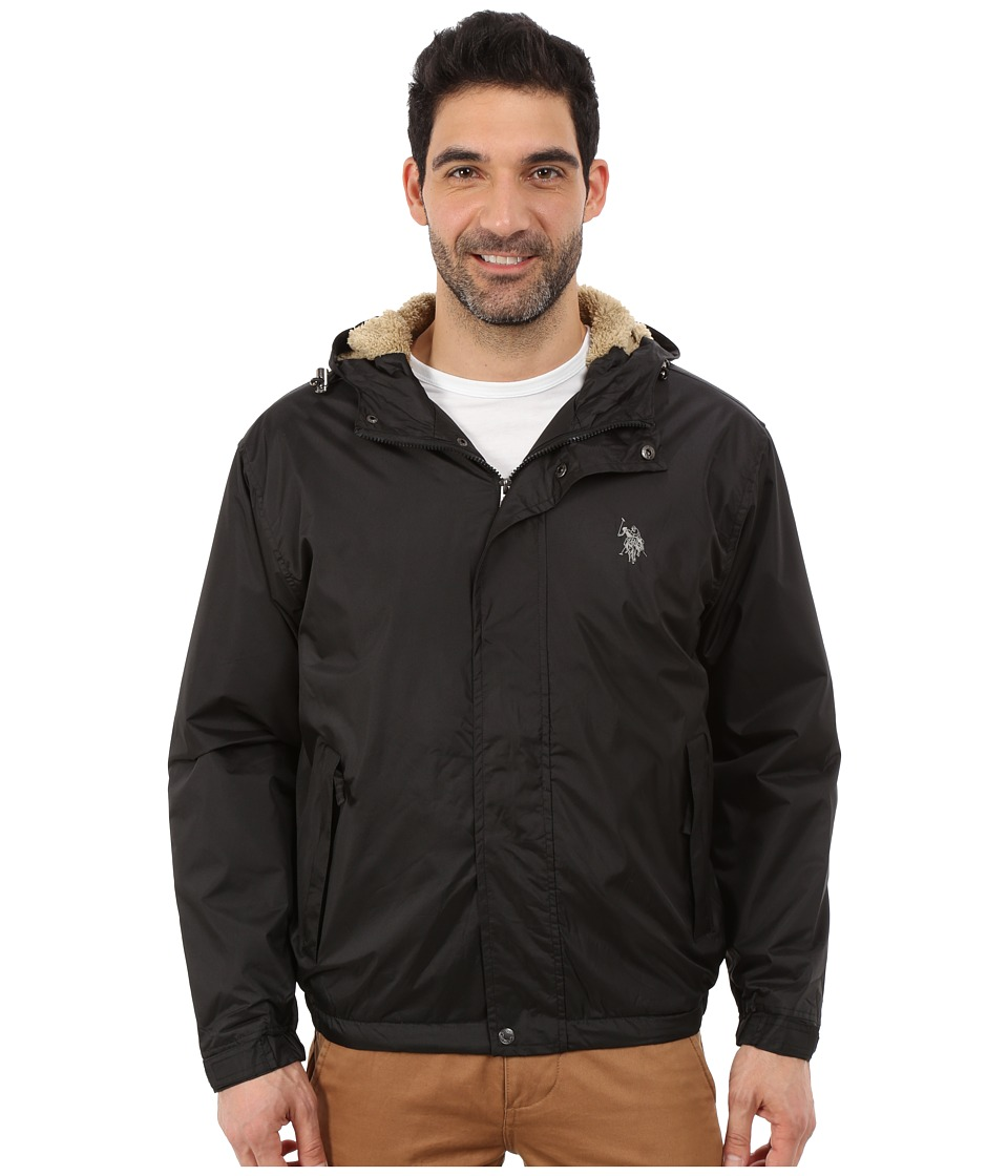 U.S. POLO ASSN. - Hooded Windbreaker (Black) Men's Coat