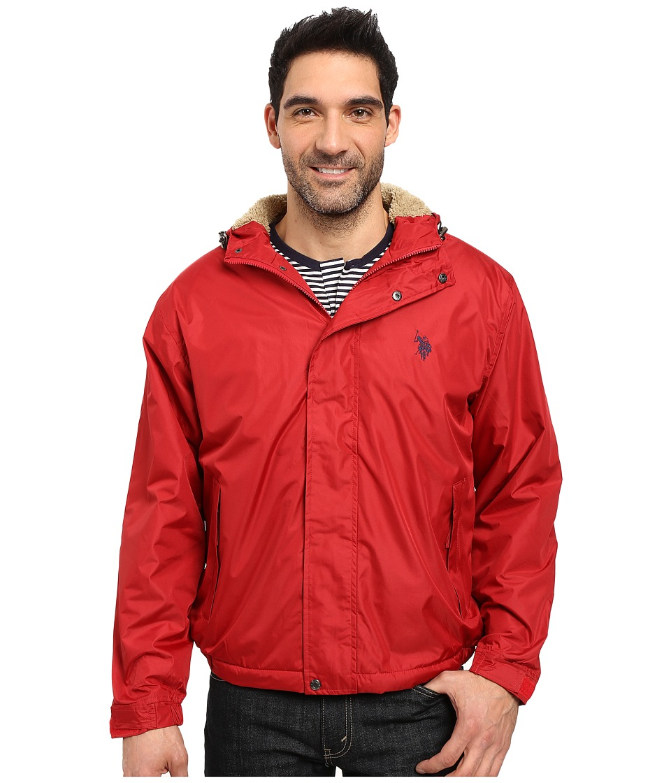 U.S. POLO ASSN. - Hooded Windbreaker (Chili Pepper) Men's Coat