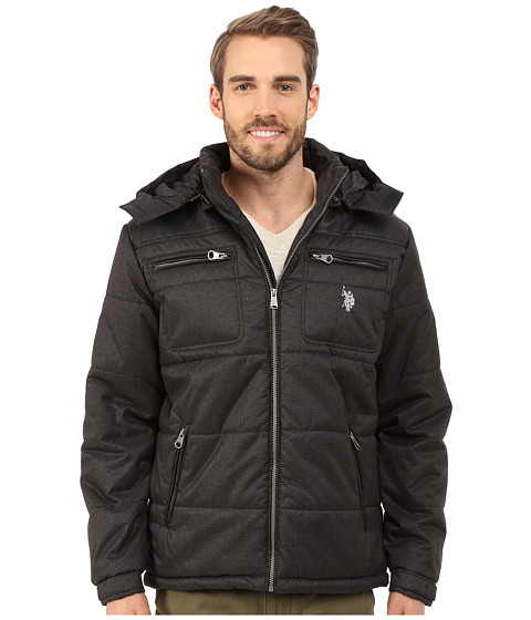 U.S. POLO ASSN. - Heather Puffer Jacket (Dark Grey) Men's Coat