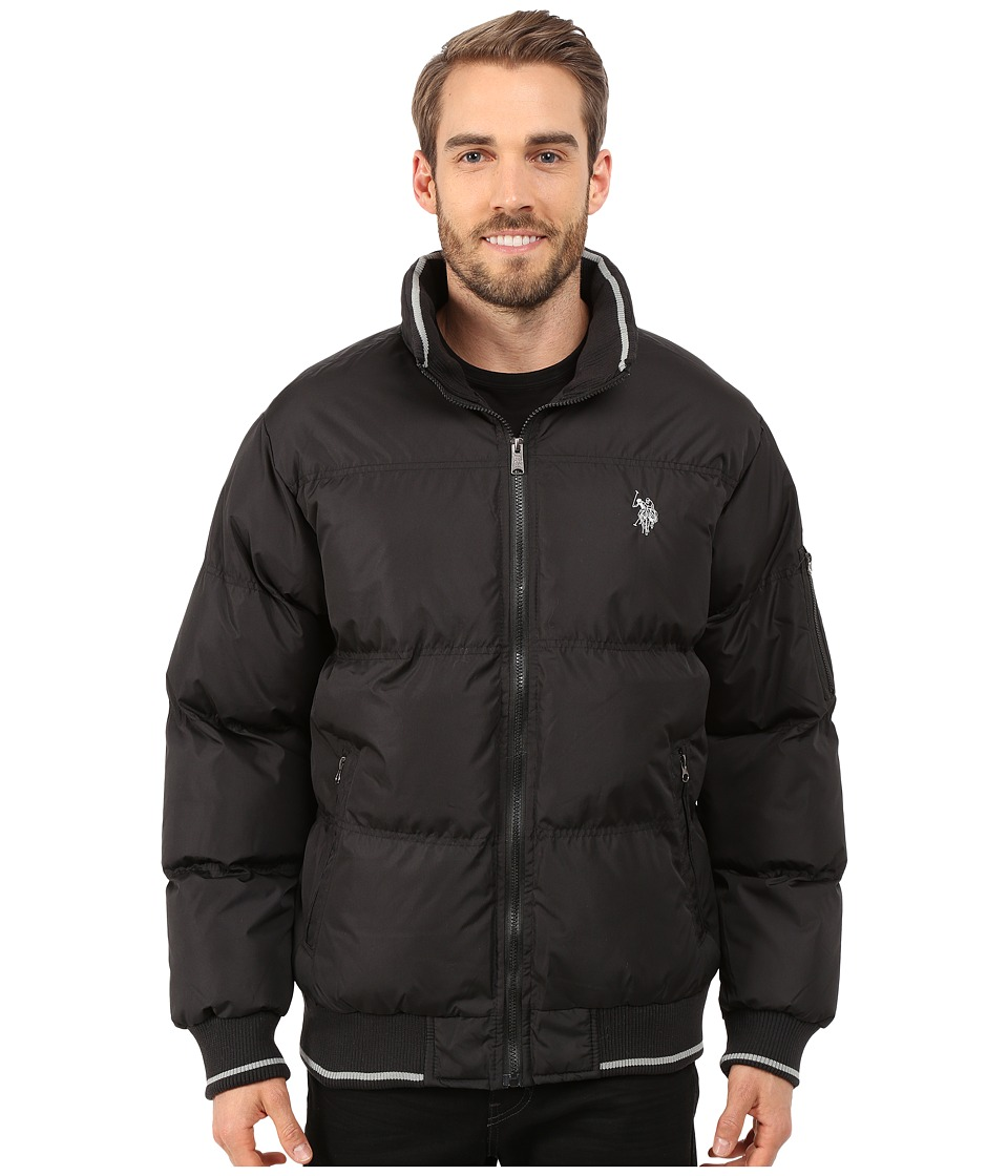 U.S. POLO ASSN. - Puffer Jacket with Striped Rib Knit Collar (Black) Men's Coat