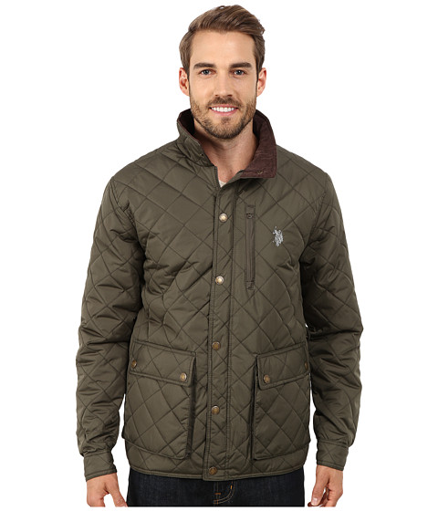 U.S. POLO ASSN. - Diamond Quilted Jacket (Forest Night) Men's Coat