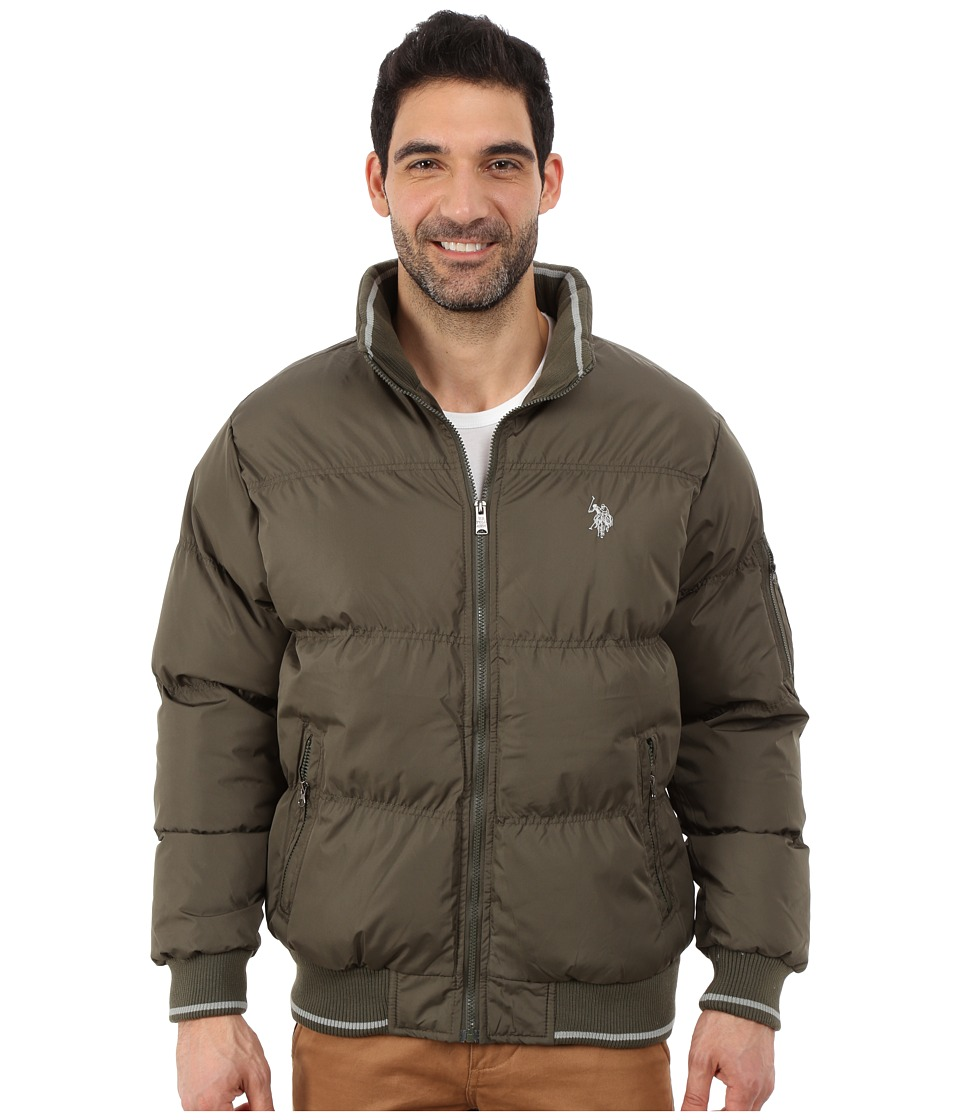 U.S. POLO ASSN. - Puffer Jacket with Striped Rib Knit Collar (Forest Night) Men's Coat