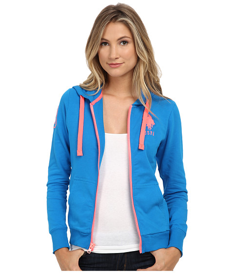 U.S. POLO ASSN. - French Terry Zip Front Hoodie (Blue Gem) Women