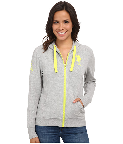 U.S. POLO ASSN. - French Terry Zip Front Hoodie (Heather Grey) Women's Sweatshirt
