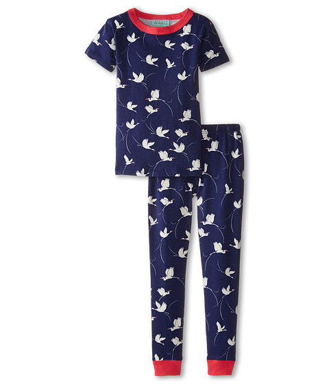 BedHead Kids - Short Sleeve Tee Pant Set (Infant) (Midnight Cranes) Girl