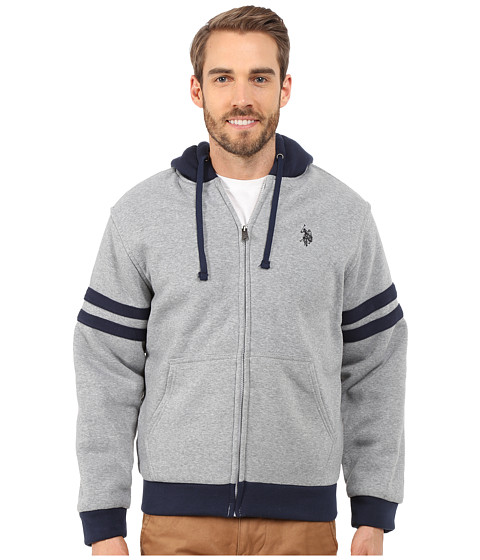 U.S. POLO ASSN. - Fleece Hoodie with Sherpa Lining (Heather Grey) Men's Sweatshirt