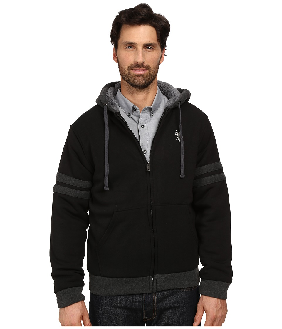 U.S. POLO ASSN. - Fleece Hoodie with Sherpa Lining (Black) Men's Sweatshirt