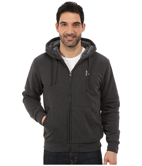 U.S. POLO ASSN. - Fleece Hoodie with Sherpa Lining (Dark Grey) Men
