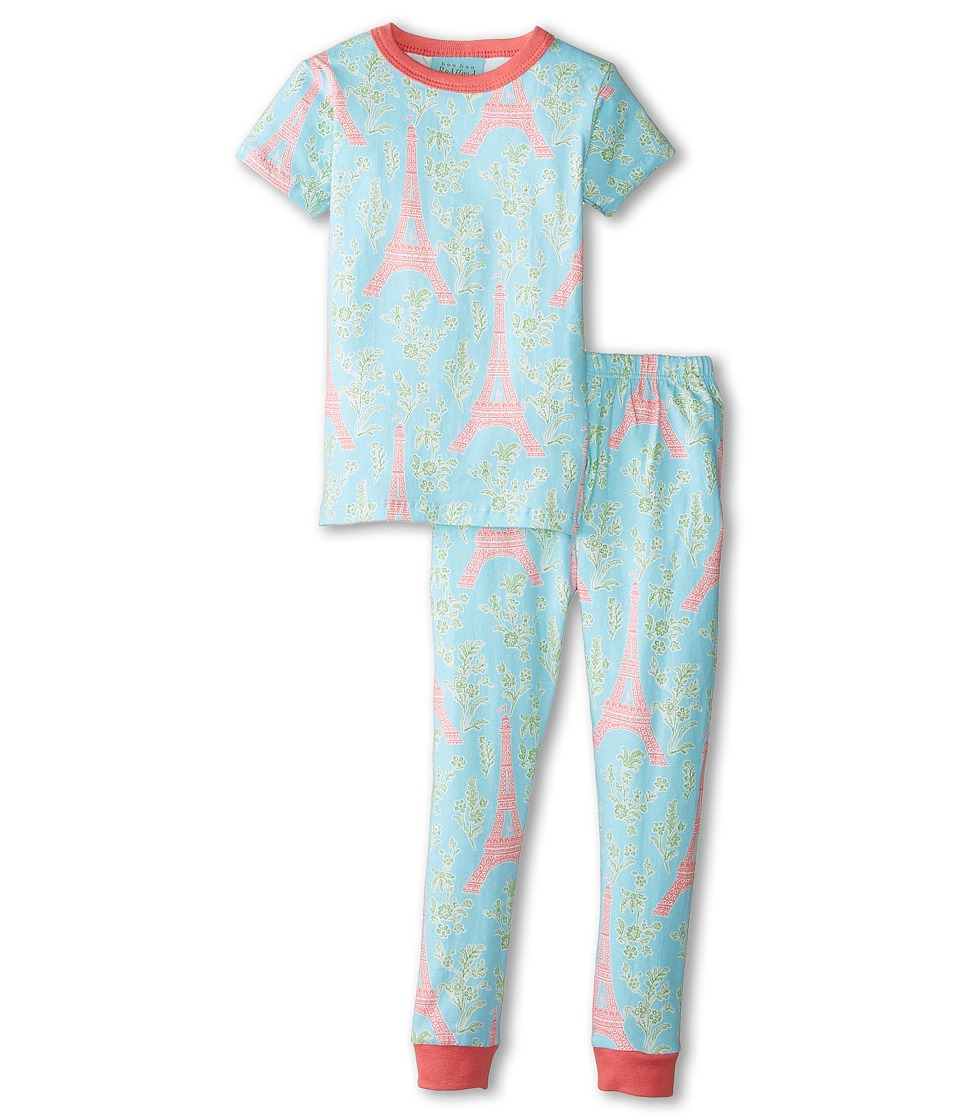 BedHead Kids - Short Sleeve Snug PJ (Toddler/Little Kids) (Light Blue Eiffel Tower) Girl