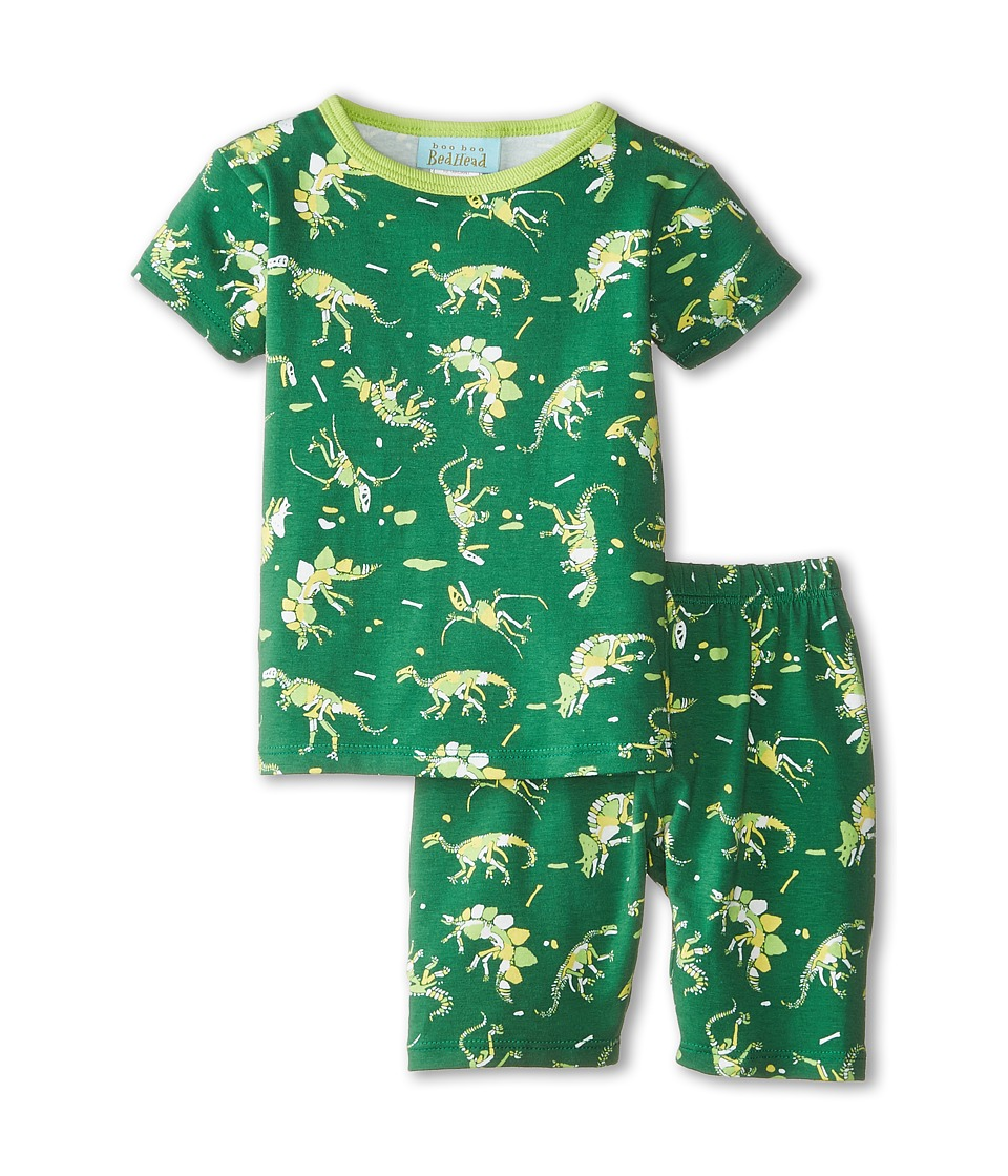 BedHead Kids - Short Sleeve Two-Piece Shorts Set (Toddler/Little Kids) (Neon Dinosaur) Boy