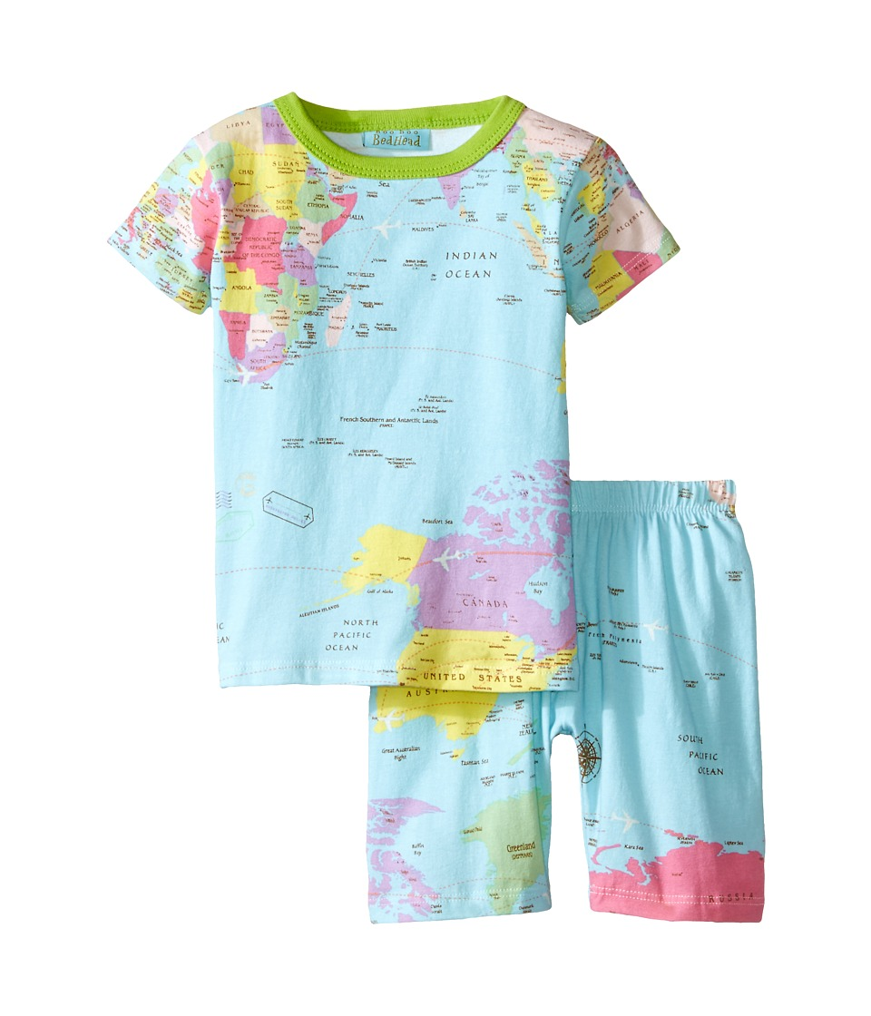 BedHead Kids - Short Sleeve Two-Piece Shorts Set (Toddler/Little Kids) (Aqua Around The World) Kid's Pajama Sets