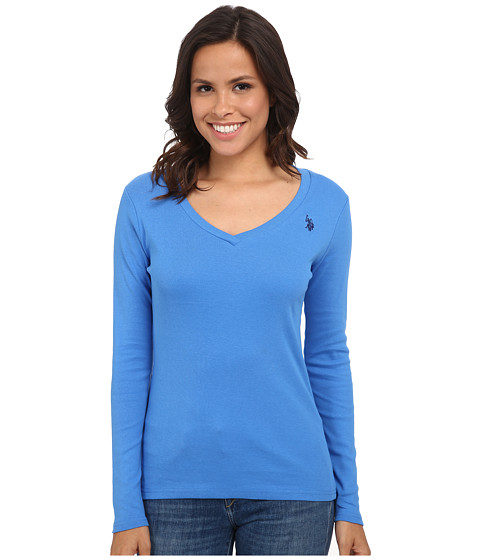 U.S. POLO ASSN. - Long Sleeve Jersey Polo (Campanula) Women