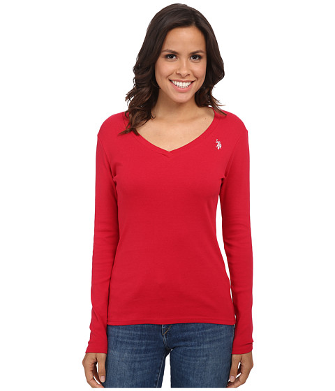 U.S. POLO ASSN. - Long Sleeve Jersey Polo (Crimson) Women