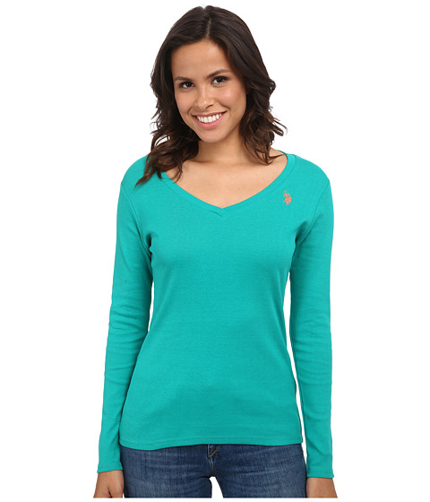 U.S. POLO ASSN. - Long Sleeve Jersey Polo (Dynasty Green) Women