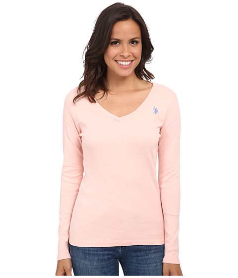 U.S. POLO ASSN. - Long Sleeve Jersey Polo (Impatiens Pink) Women's Long Sleeve Pullover