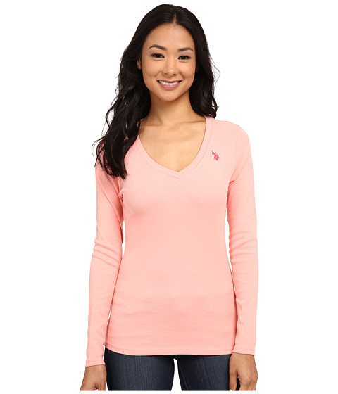 U.S. POLO ASSN. - Long Sleeve Jersey Polo (Candlelight Peach) Women