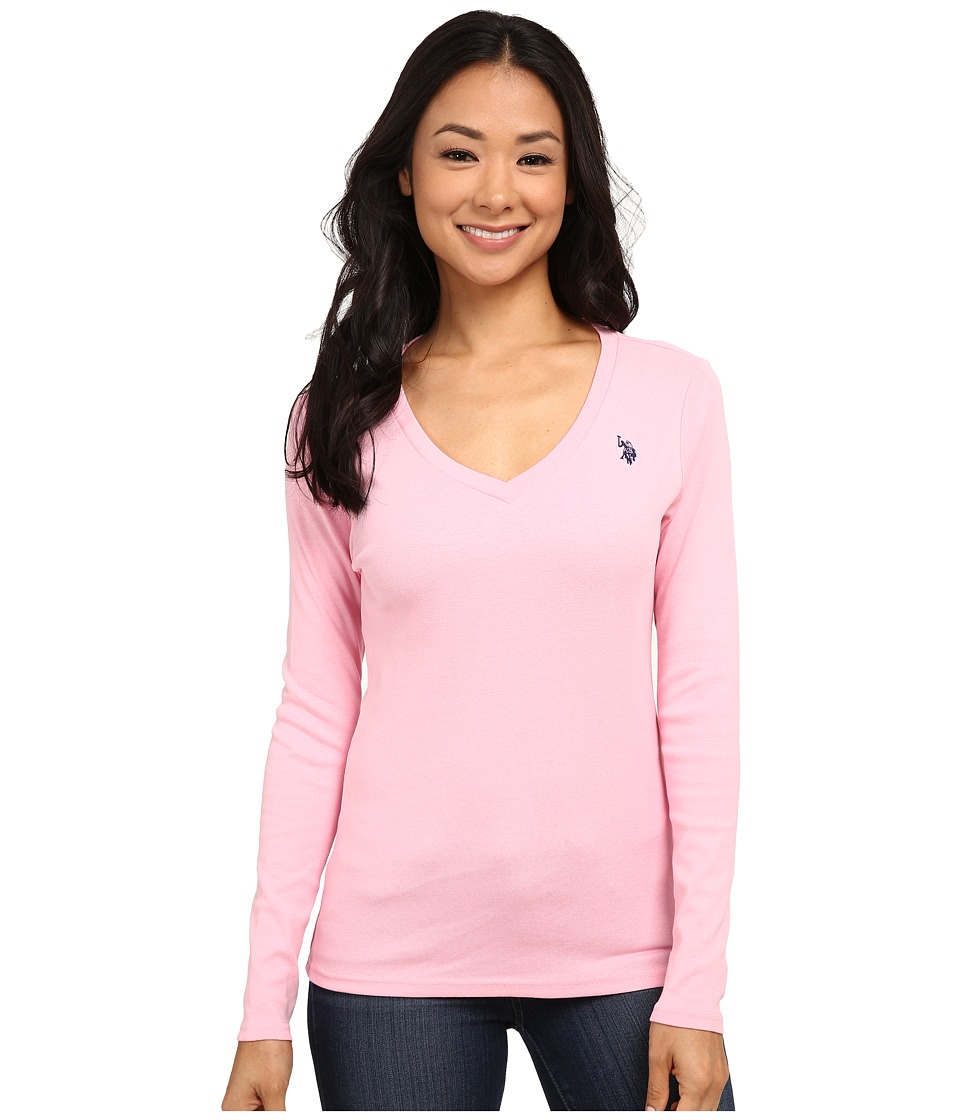 U.S. POLO ASSN. - Long Sleeve Jersey Polo (Prism Pink) Women's Long Sleeve Pullover