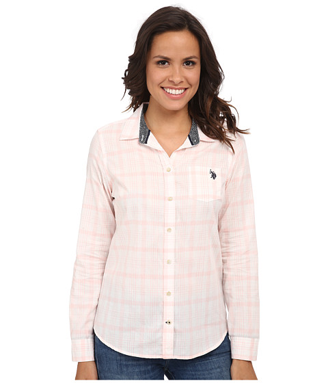 U.S. POLO ASSN. - Long Sleeve Plaid Shirt (Impatiens Pink) Women's Clothing