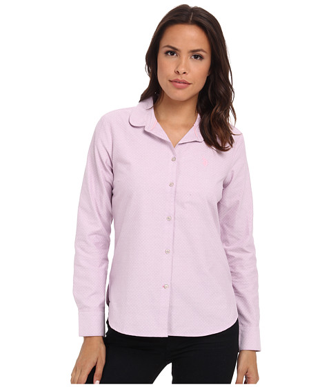 U.S. POLO ASSN. - Long Sleeve Dot Print Oxford Shirt (Lavender Herb) Women's Clothing