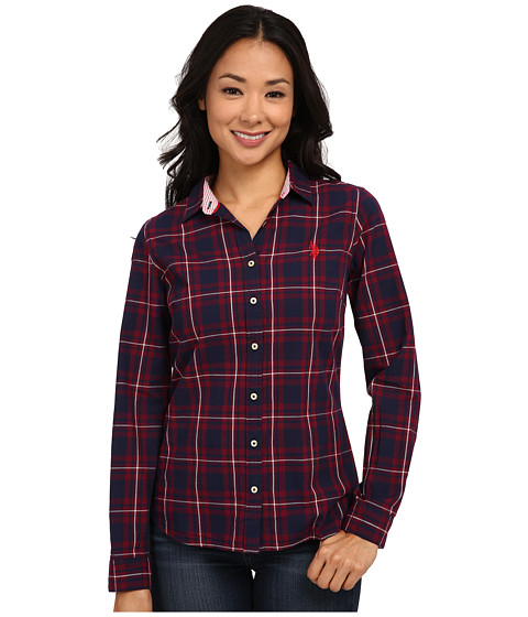 U.S. POLO ASSN. - Long Sleeve Poplin Plaid Shirt (Evening Blue) Women