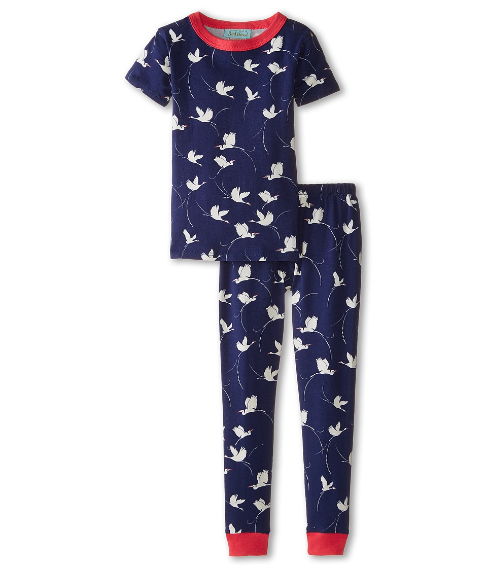 BedHead Kids - Short Sleeve Snug PJ (Toddler/Little Kids) (Midnight Cranes) Girl