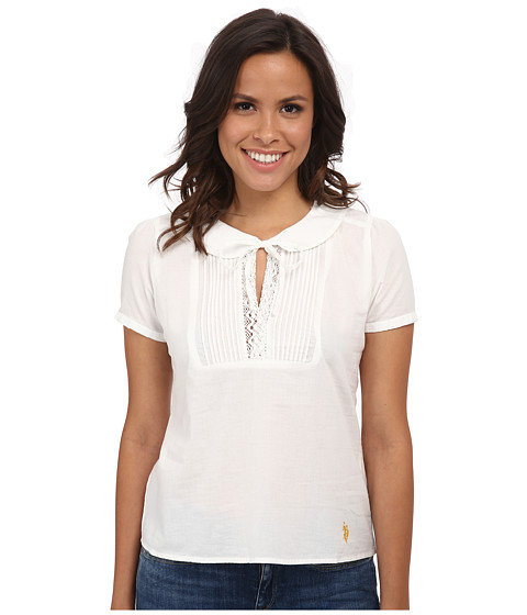 U.S. POLO ASSN. - Pintuck Pleated Blouse (Glory Vanilla) Women's Blouse