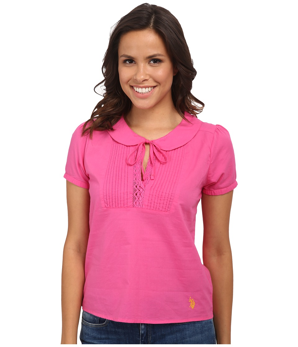 U.S. POLO ASSN. - Pintuck Pleated Blouse (Totally Pink) Women's Blouse