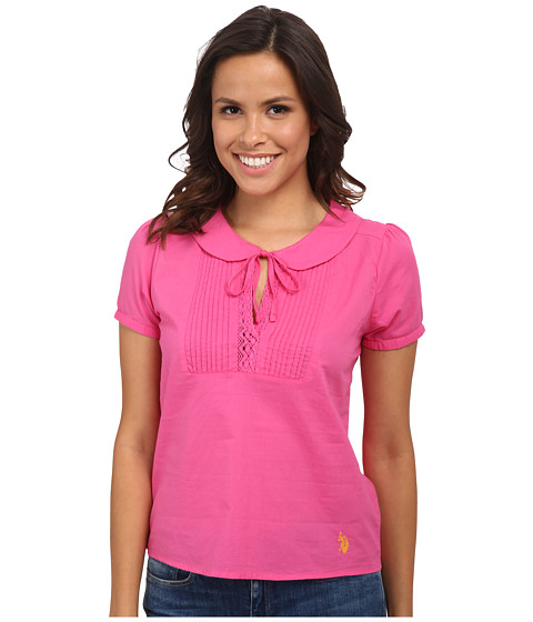 U.S. POLO ASSN. - Pintuck Pleated Blouse (Totally Pink) Women