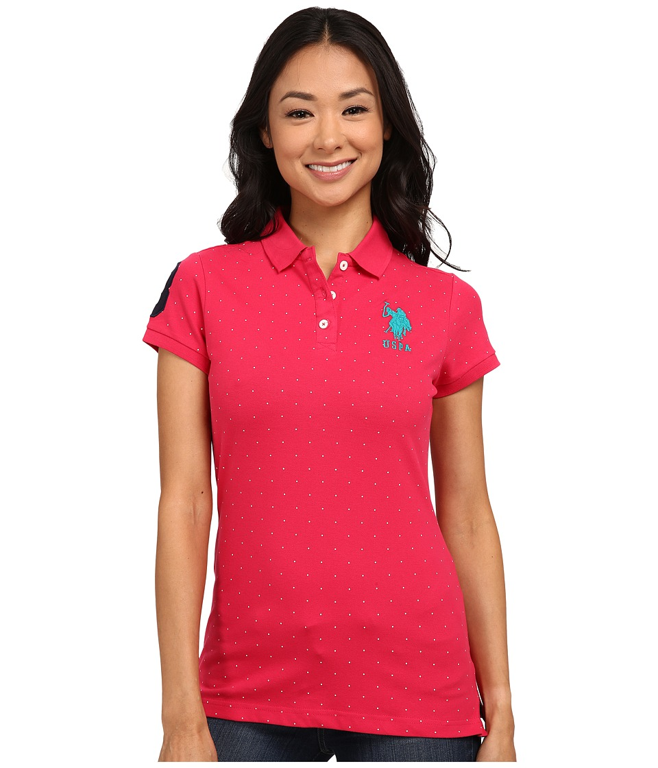 U.S. POLO ASSN. - Stretch Dot Print Polo (Jazzy) Women's Clothing