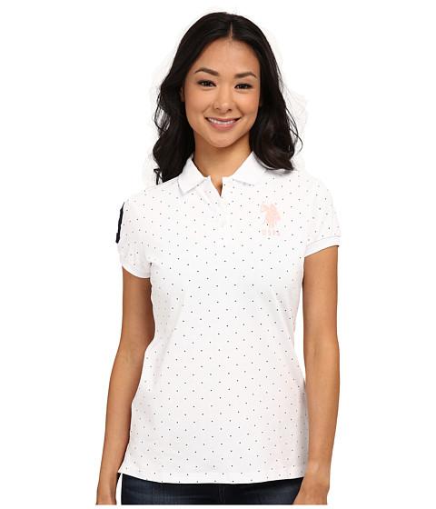 U.S. POLO ASSN. - Stretch Dot Print Polo (Optic White) Women