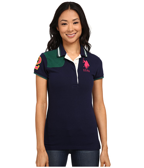 U.S. POLO ASSN. - Solid Pique Polo with Quilted Shoulder Detail (Tribal Navy) Women
