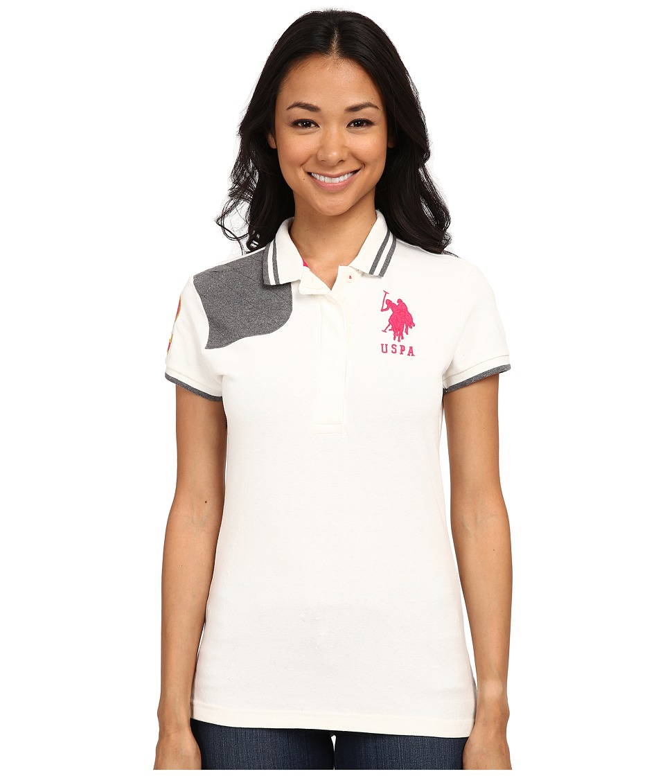 U.S. POLO ASSN. - Solid Pique Polo with Quilted Shoulder Detail (White Winter) Women