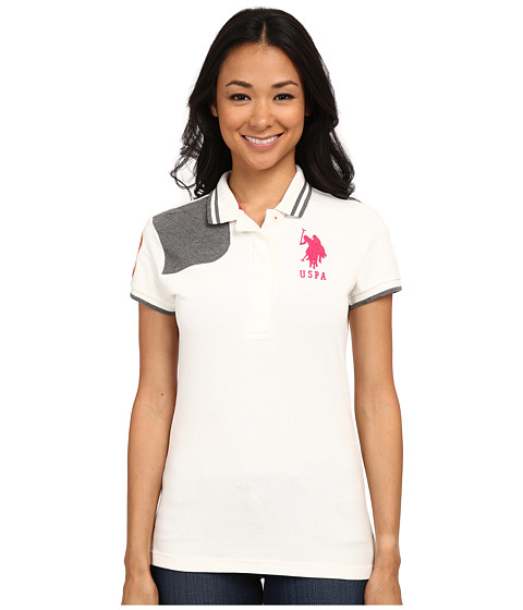 U.S. POLO ASSN. - Solid Pique Polo with Quilted Shoulder Detail (White Winter) Women's Clothing