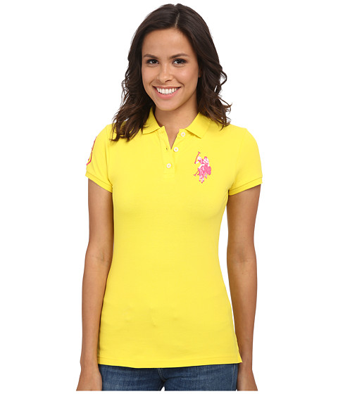 U.S. POLO ASSN. - Multi-tonal BP Polo (Laser Yellow) Women's Short Sleeve Pullover