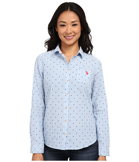 U.S. POLO ASSN. - Poplin Dobby Print Shirt (Campanula) Women