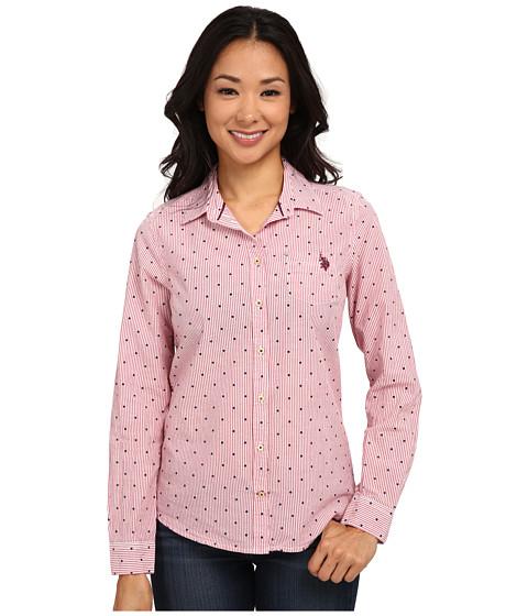 U.S. POLO ASSN. - Poplin Dobby Print Shirt (Crimson) Women