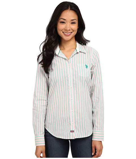 U.S. POLO ASSN. - Striped Poplin Shirt (Dynasty Green) Women's Clothing