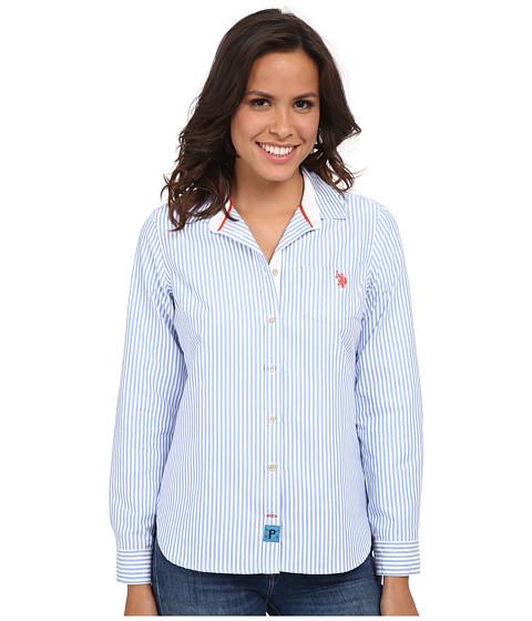 U.S. POLO ASSN. - Striped Oxford Woven Shirt (Campanula) Women