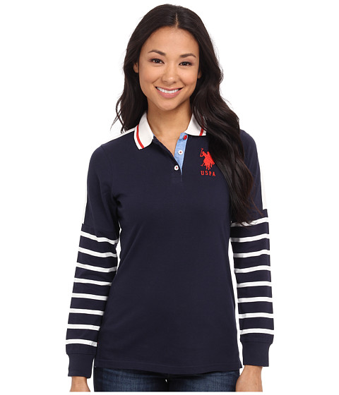 U.S. POLO ASSN. - Striped Sleeve Jersey Polo (Navy Blazer) Women's Clothing